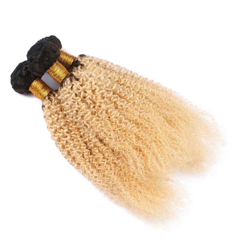 Perulu Sarışın Ombre İnsan Saç Örgüleri 3 Demetleri Çok Kinky Kıvırcık # 1B / 613 Koyu Kök Ombre Sarışın Bakire Remy İnsan Saç Demeti Fiyatları