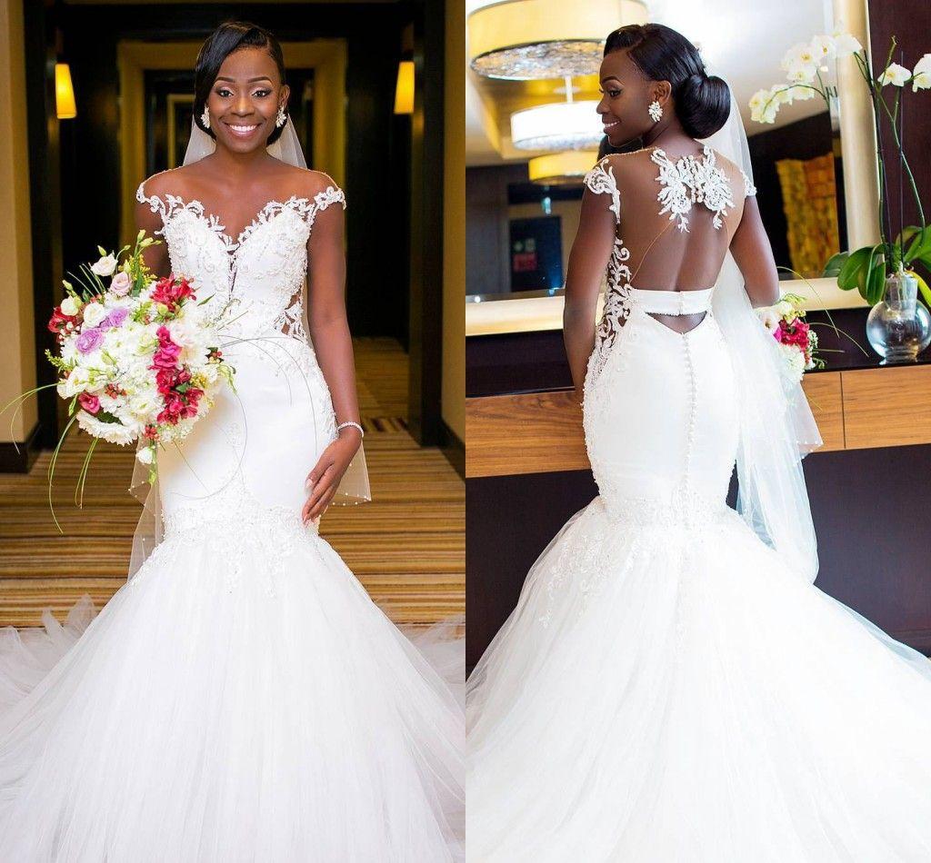 785b4c86a5f African Mermaid Wedding Dresses 2018 Sexy Backless Lace Black Girl Applique Sweep  Train Beach Bohemian Wedding Dress Sheer Neck Bridal Gowns Wedding Dresses  ...