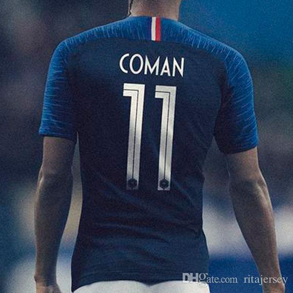 Compre Camisas De Futebol Da França 2018 GRIEZMANN France Soccer Jerseys  Football Shirts Official Version Do Campeonato Do Mundo POGBA MBAPPE Topo  Tailândia ... cc2c4de584978