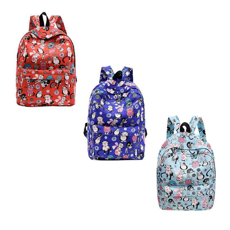 d34a82e2d8 Preppy Chic Nylon Cartoon Cat Printed Backpack Women School Bags Zipper  Design Women Backpack Soft Printing Backpacks Cheap Backpacks Preppy Chic  Nylon ...