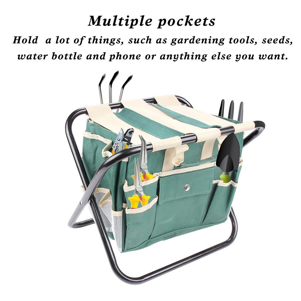 مجموعة أدوات الحديقة مع البراز الصلب قابلة للطي وحمل أداة قماش للانفصال حقيبة حقيبة الكل في واحد مع جيوب متعددة الخضراء