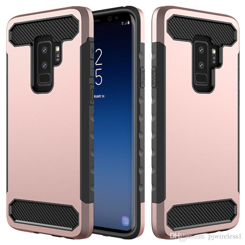 more photos 328b5 602d8 For Samsung galaxy S10 S10e S10 PLUS Phone Cases Carbon Fiber Hybrid  Shockproof Amor TPU PC Case Dual Protection Phone Cover B