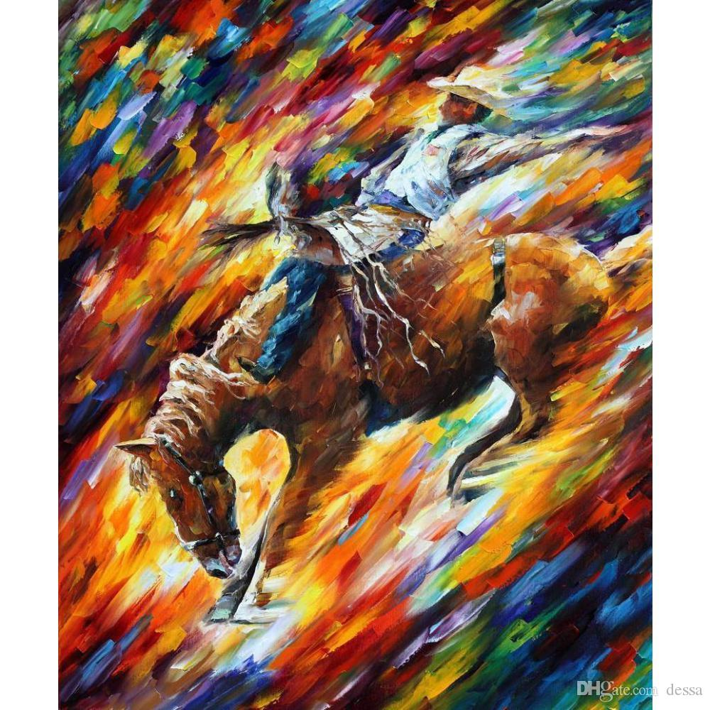 2019 Large Wall Art Leonid Afremov Rodeo Dangerous Games Oil Paintings On  Canvas High Quality Hand Painted From Dessa a32b3630a2c5