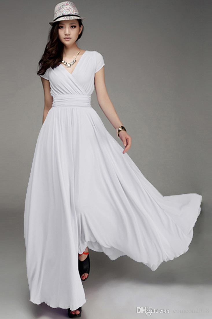 93726e6a2b Fashion Women Clothes Women Boho Dress short sleeve 2019 Bohemia V Neck  Maxi ankle-length long dresses plus size dress solid color Vestidos