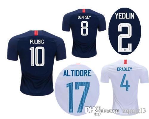 6d1bebf51e Compre 2018 EUA World Cup Camisas De Futebol PULÍSTICA 18 19 DEMPSEY  BRADLEY ALTIDORE MADEIRA América Kit Uniforme De Futebol Camisas De Futebol  Dos Estados ...