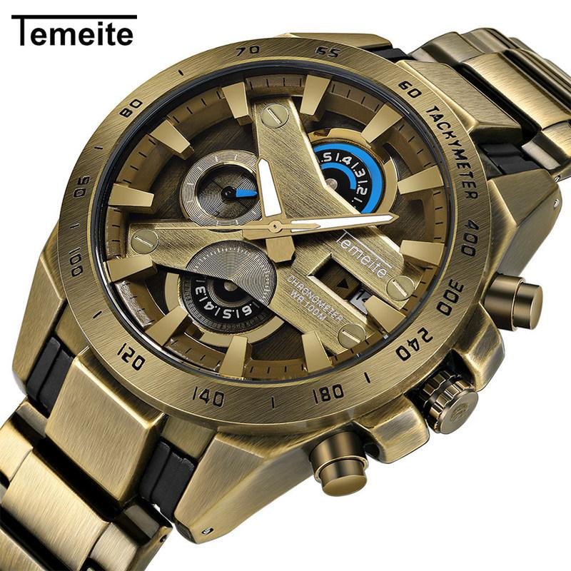 f09be8c97d4 Homem relógios de quartzo TEMEITE marca mens relógios de pulso de luxo  antigo Cor de cobre de aço inoxidável relógio homens relógios à prova d   água