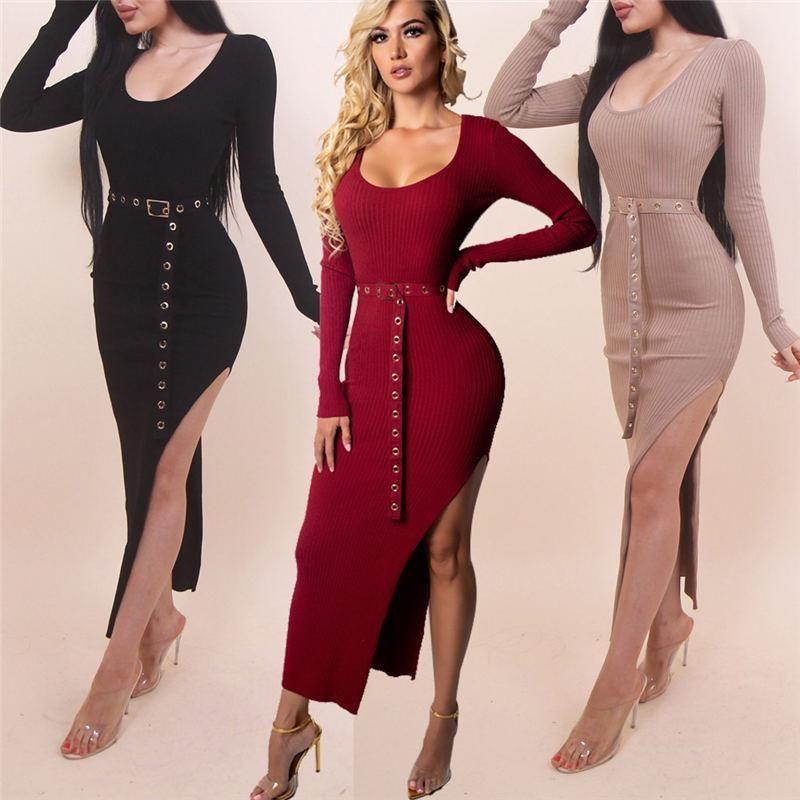 0e7640f904d Sexy Women Winter Dress Long Sleeve Split Knitted Bodycon Solid Slim Fit  Elegant Midi Dress With Belt Long Black Dresses Cheap Prom Dress From  Mrstang