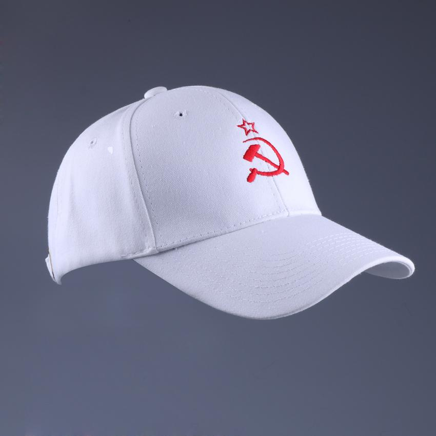 Russian Cap Embroidery Soviet Star Signs Baseball Cap White Cotton Snap Back Plain Hat 6 Panel Curved Brimmed Low Profile