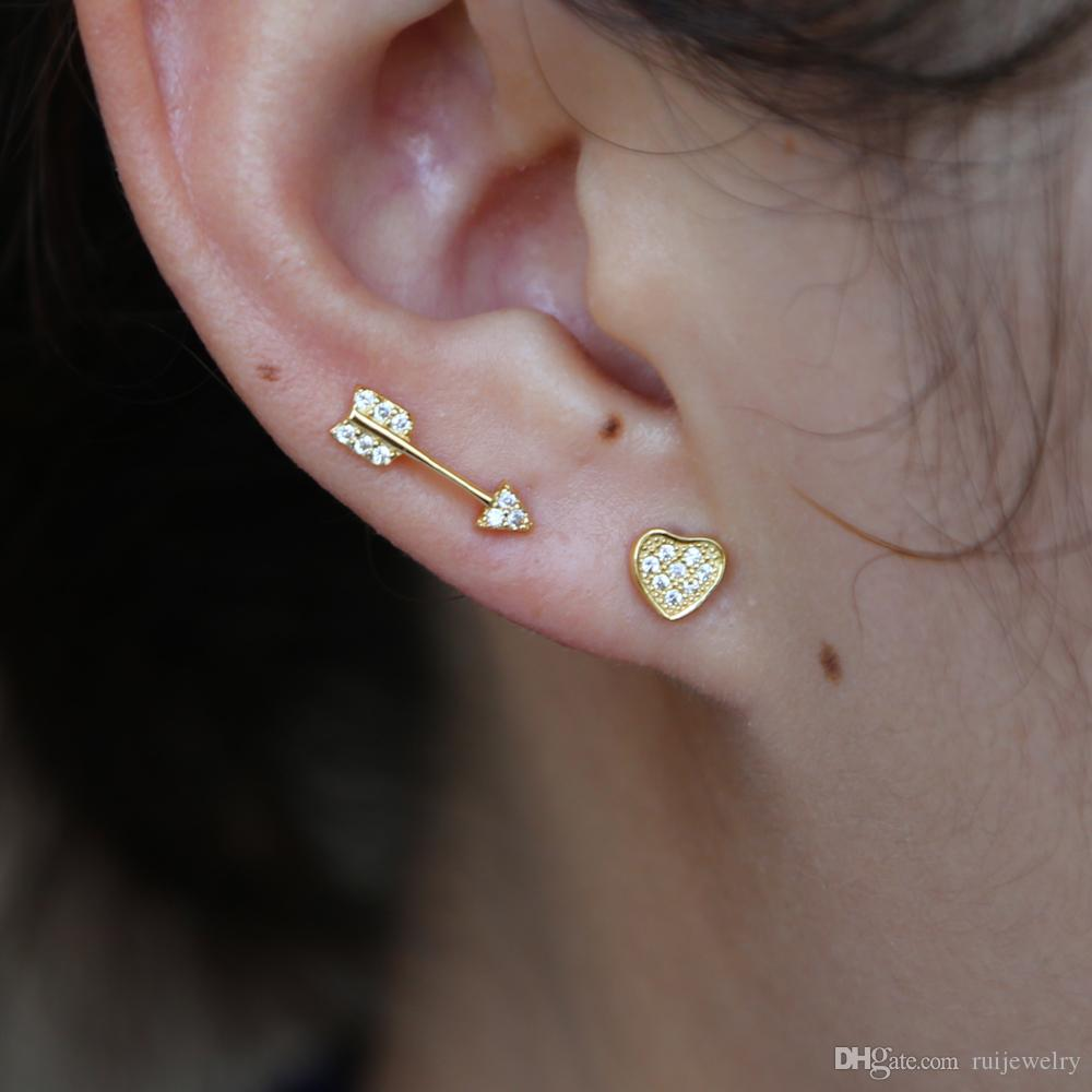 ab4518a6d 2019 Women Romantic Arrow Heart Stud Earrings Cute Jewelry Simple Cyrstal  Studs For Fashion Girls Gift 925 Sterling Silver Earrings From Ruijewelry,  ...