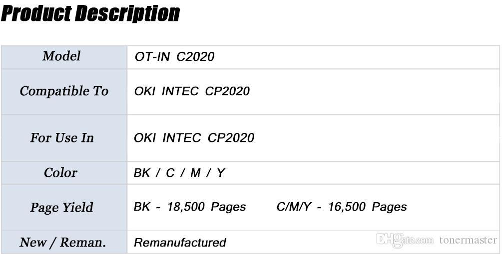 OKI IN C2020, Совместимый картридж с тонером для OKI INTEC CP2020; БК - 18 000, C / M / Y - 16 500 страниц