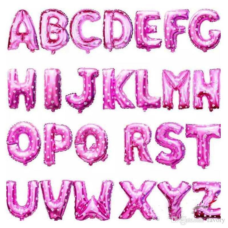16 pouce Alphabet Lettres Ballons Enfants Décorations De Fête D'anniversaire Aluminium Ballon Fournitures De Fête De Mariage Or Argent Argent Rose Boule