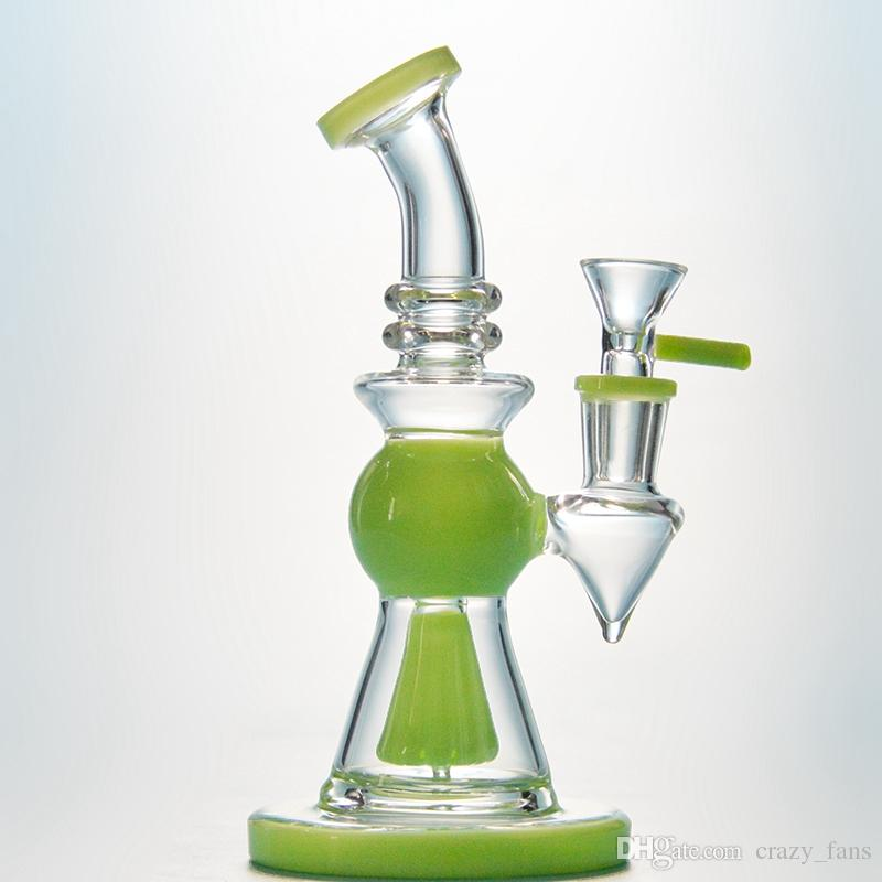 7 Inch Heady Glass Bong Short Nect Mouthpiece Pyramid Design Oil Dab Rig Showerhead Perc Water Pipes Purple Green Bong With 14mm Bowl
