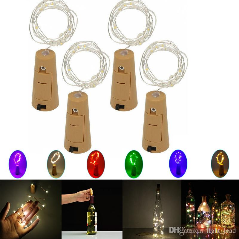 1M 10LED 2M 20LED Lamp Cork Shaped Bottle Stopper Light Indoor LED Silvery Wire String Lights For Glass Bottle Party Wedding Christmas Decor