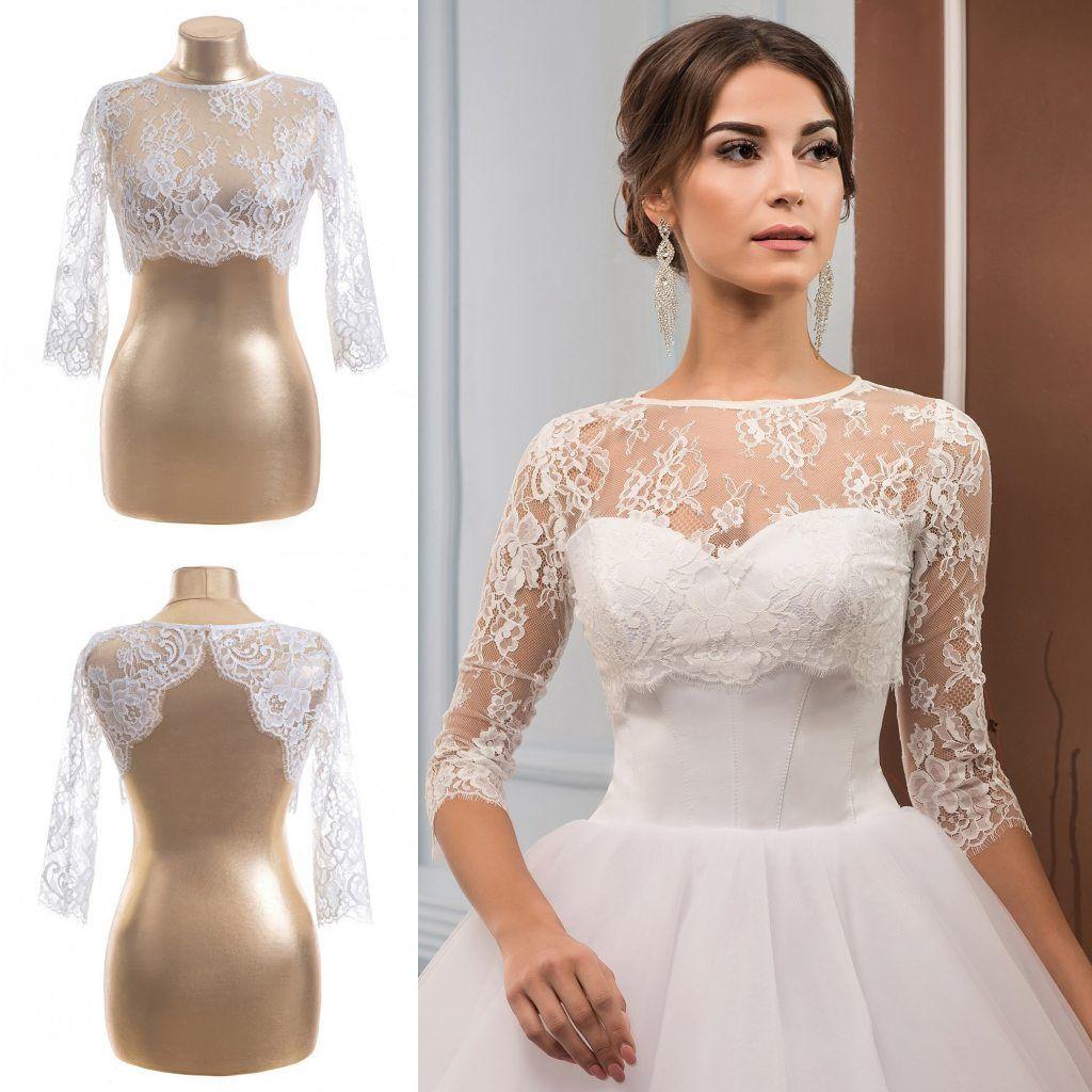 fb33d6ca92f 2019 Fashion Lace Jacket 2018 Bridal Accessories Half Sleeve Wraps Jewel  Neck Sheath Bolero For Wedding Dresses Custom Made Real Image From  Huifangzou