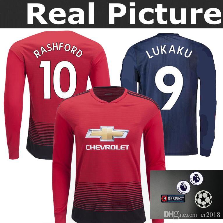f3f91a98965 ... sweden top best quality 2018 manchester united 18 19 long sleeve jersey  home away pogba lukaku