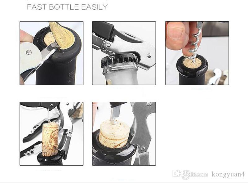 Multi-Function Wine Beer Bottle Cap Opener Corkscrew Cork Screw Stainless Steel Metal Handle Home Party