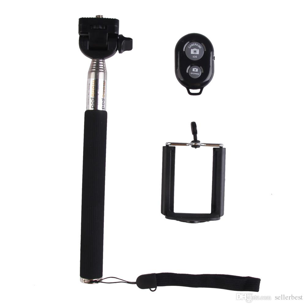 Wireless Bluetooth Extensible Selfie Stick Handheld Monopod + Clip Holder + Shutter Remote Controller para iPhone Android