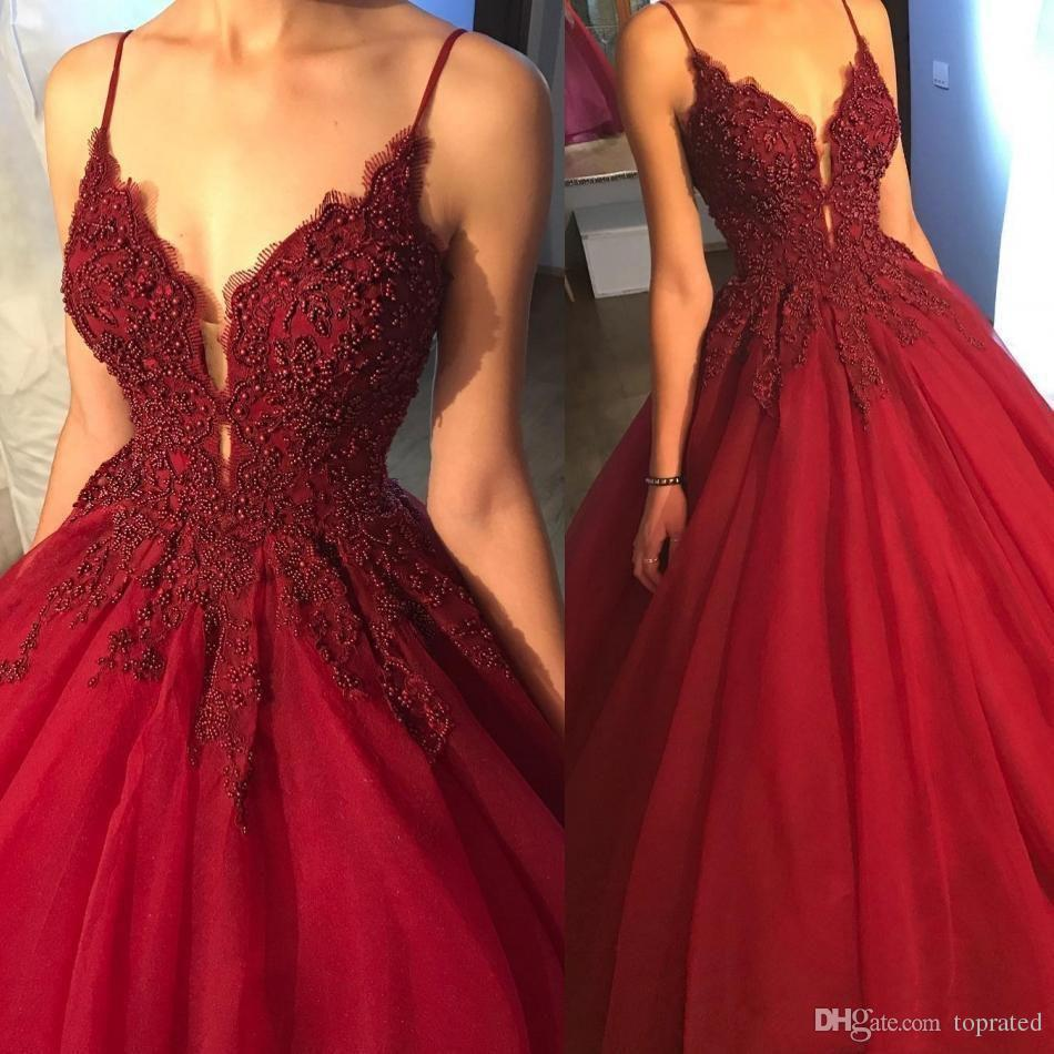 2018 Modest vestidos Beading Ball Gown Prom Dresses Spaghetti Straps Sexy Red Wine Puffy Eveing Gowns Deep V Neck Formal Dresses Cheap