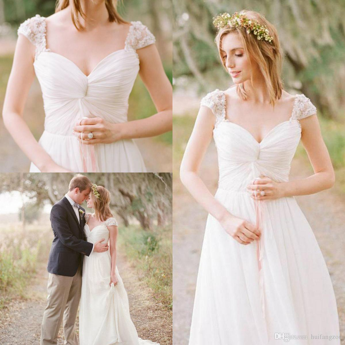 Discount Romantic Boho Wedding Dress Cap Sleeves Lace Applique Beaded  Chiffon Country Style Bridal Gowns Summer Beach Wedding Dresses Long Sleeve  Wedding ... 4be428257e92
