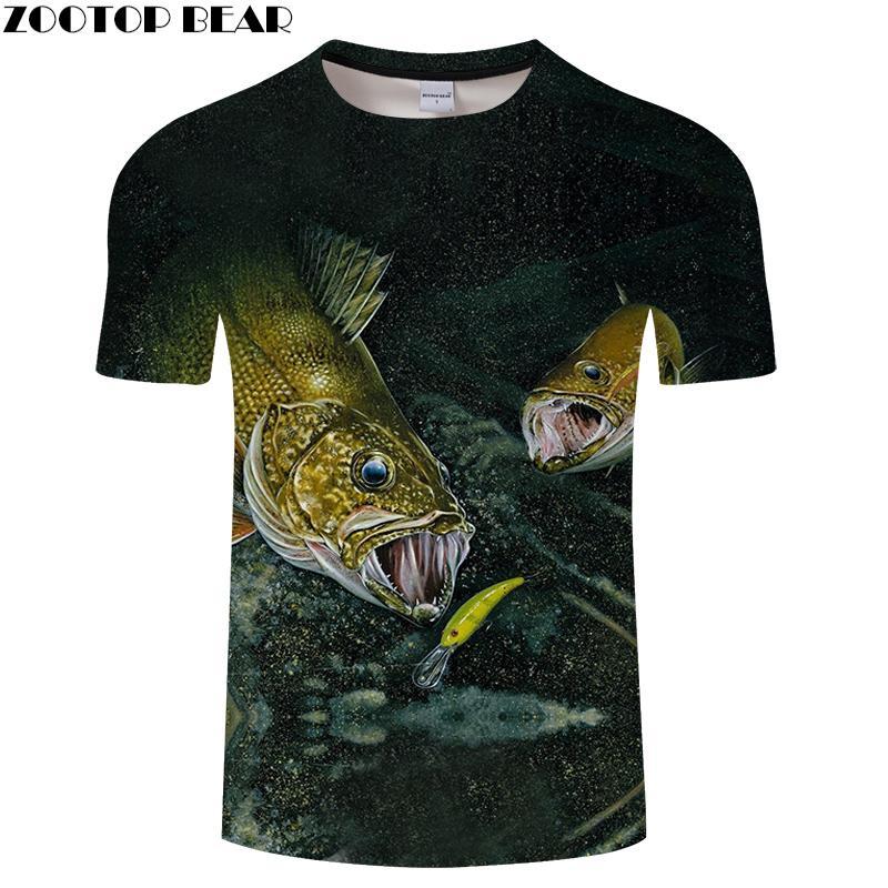 68d0ea81 Fish Print Tshirt Men Animal T Shirt 3D T Shirt Streatwear Tee Funny Tops  Summer Short Sleeve O Neck Hip Hop Dropship ZOOTOPBEAR Awesome Cheap T  Shirts ...