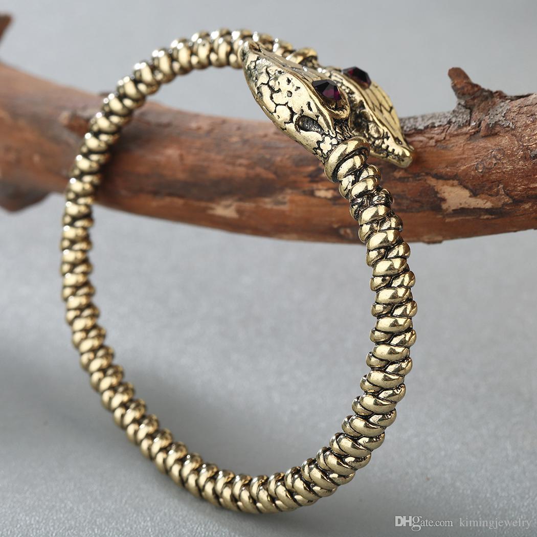 5 unids / lote Oro-color Jormungandr Serpiente Vikingo Pulsera Brazalete Nail Medieval Nórdico Manguito Abierto Joyería Para Hombres Accesorios Masculinos