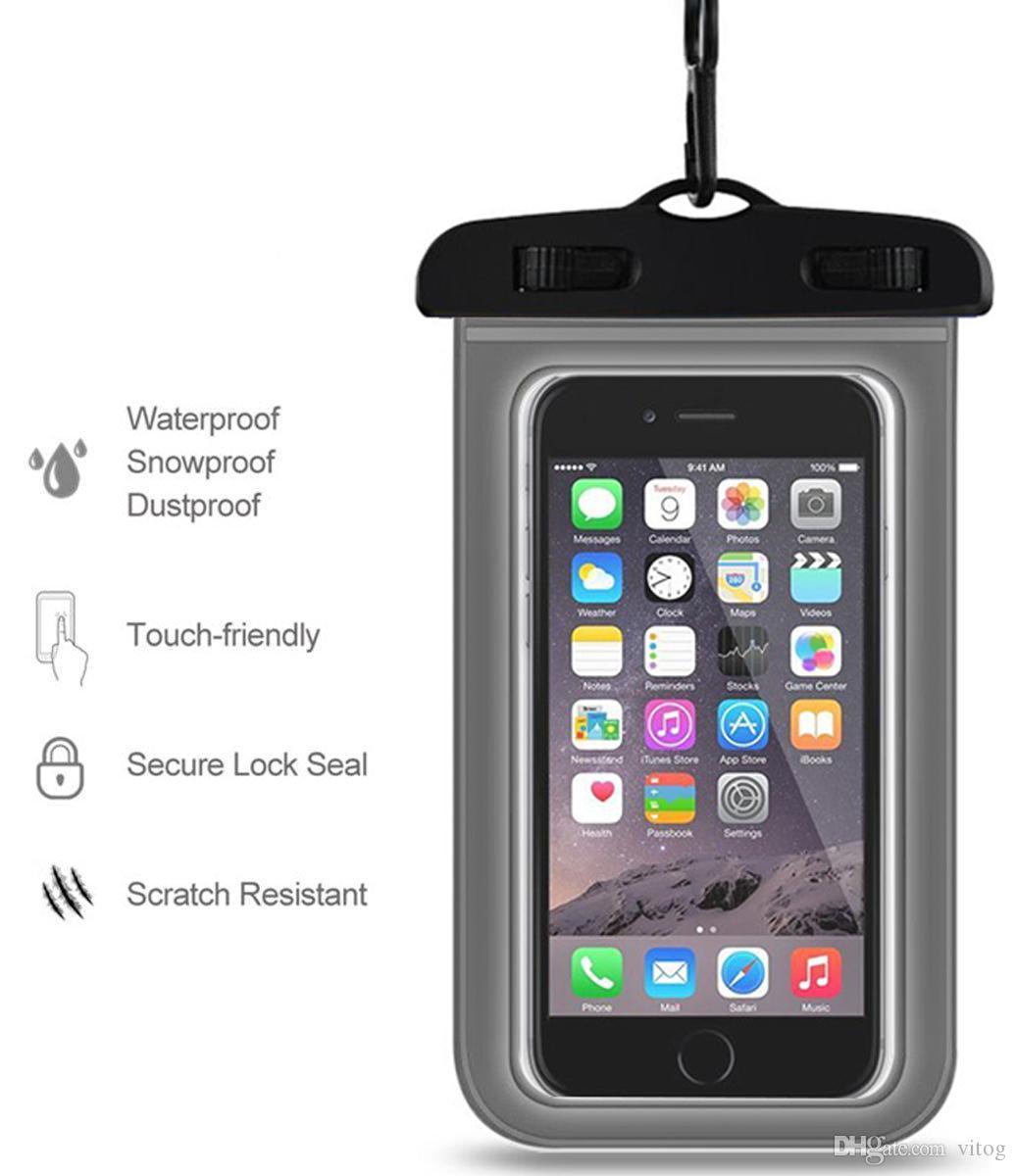 حقيبة الجافة كيس ماء كيس بولي كلوريد الفينيل واقية حقيبة الهاتف العالمي الحقيبة مع أكياس البوصلة للغطس السباحة للهواتف الذكية تصل إلى 5.8 بوصة