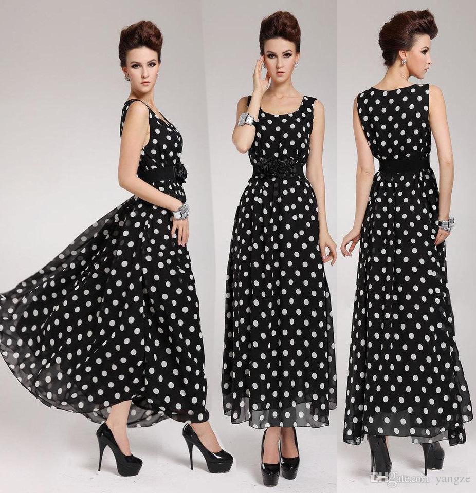 new product 3cc2e a50ea Maxi abiti lunghi a pois bianchi neri per donna estate chiffon abito da  sera nero con puntino bianco RF1084