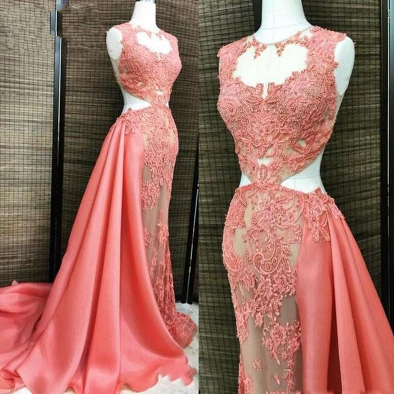 Watermelon See Through Prom Dresses Long Sheer Neck Lace Appliques ...