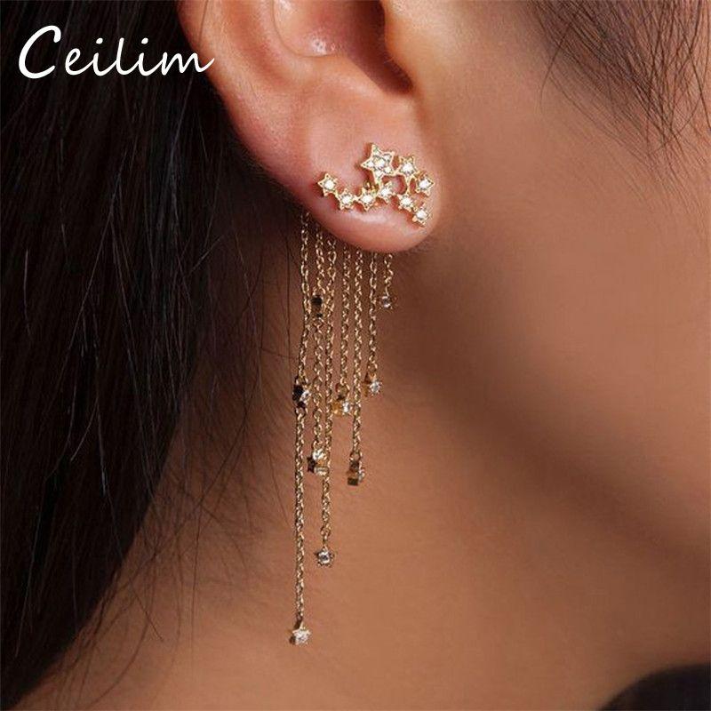 96a05fa08b 2018 New Arrival Brand Vintage Drop Earrings Shining Stars Long Tassel Link  Chain Dangle Brincos For Girl Rhinestone Statement Jewelry