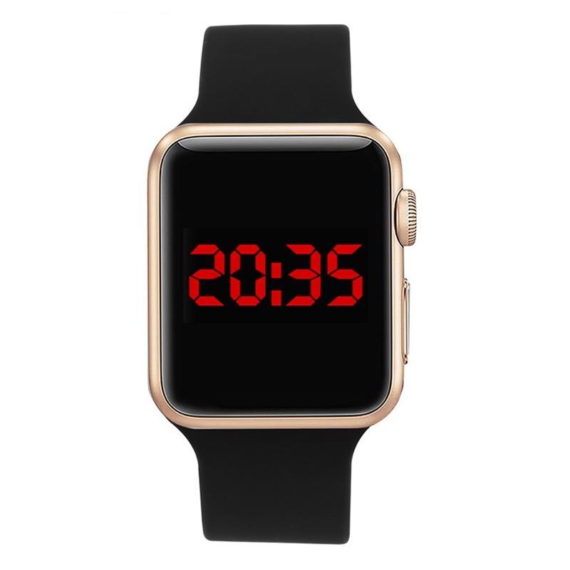 f8200158f34 Compre Relojes Relógio De Pulso Digital Horas Relógio De Desporto De Alta  Qualidade Quadrado Espelho Face Banda De Silicone Relógio Digital Relógios  De LED ...