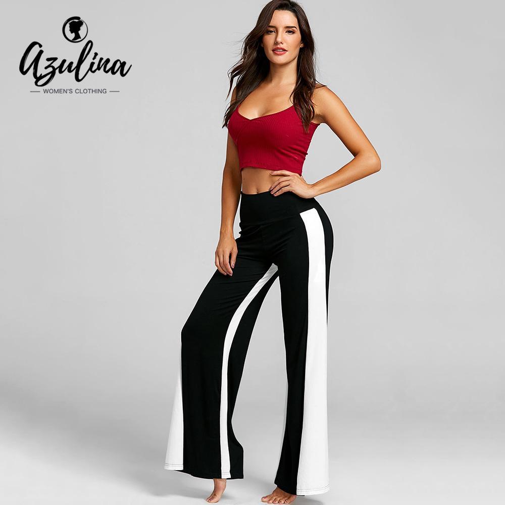 62d65dc28a439 2019 AZULINA High Waisted Loose Yoga Pants Color Block Wide Leg Pant  Elastic Waist Pants Leggings Sport Women Fitness Sport Leggings From  Jaokui