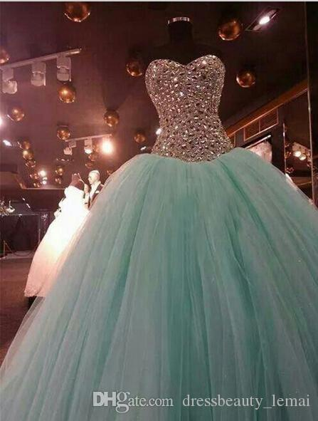 8f69381f71 Real Image Mint Green Crystal Quinceanera Dresses Ball Gown 2018 Sweet 15  Dress Sweetheart Vestido De Festa Long Tulle Formal Evening Gowns Fall  Evening ...
