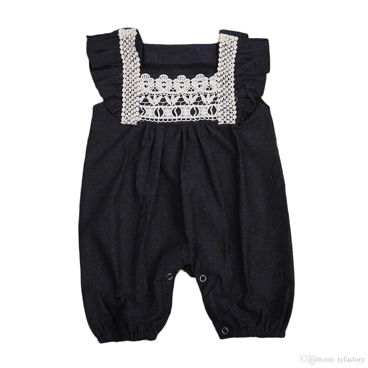 81fd731b5 2019 Newborn Infant Baby Girls Black Romper White Lace Sleeveless ...