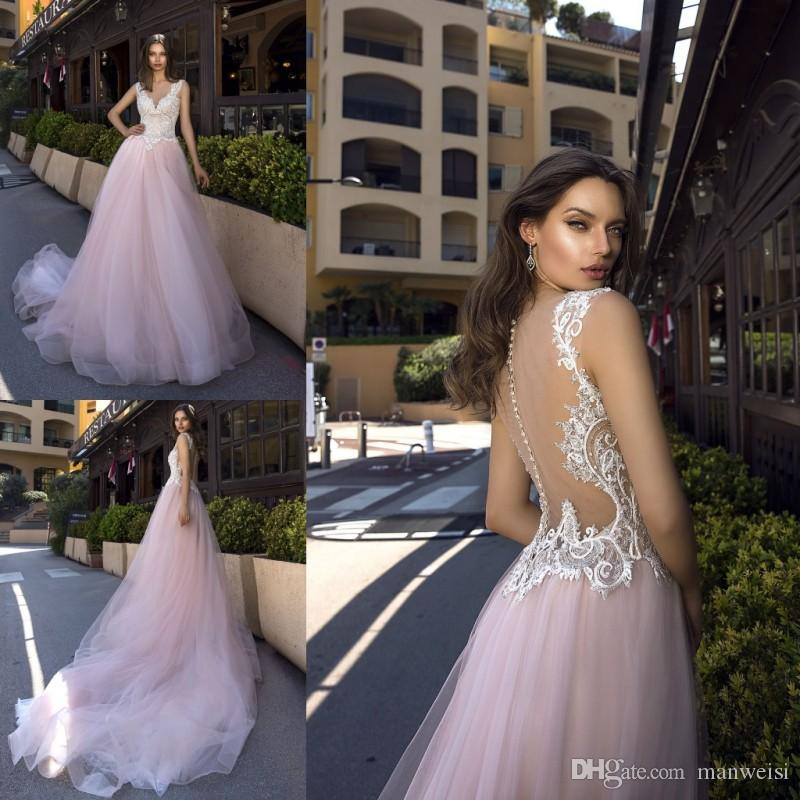 f5b3a009f97 Discount Tina Valerdi 2019 Wedding Dresses Blush Pink Lace Appliqued Sexy  Illusion Bodice V Neck Cheap Plus Size Bridal Gowns Cream Wedding Dresses  Designer ...