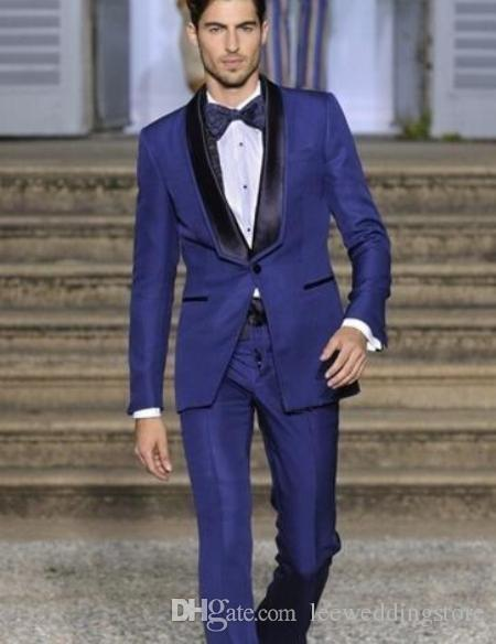 Royal Blue Shawl Lapel Men Suits Formal Slim Fit Wedding Suits Blazer Groom Prom Dress Tailored Tuxedo Terno Masculino Jacket+Pant