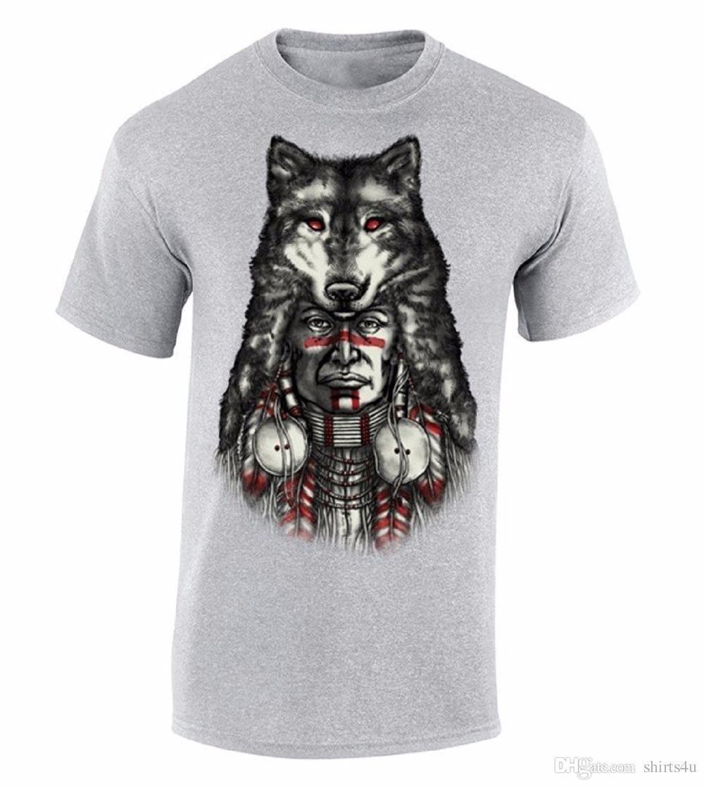 0864e3c0 Graphic Tee Stores Wolf Indian Headdress T-Shirt Native American Shirt Men's  Crew Neck Short-Sleeve Premium Tee Shirts