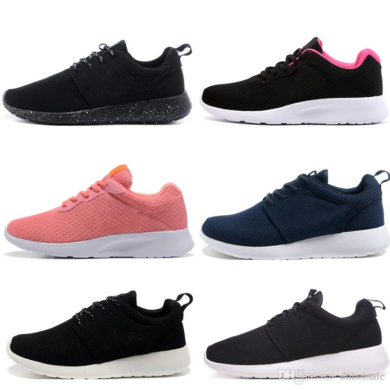 Acheter Nike Roshe Run One Tanjun Designer Tanjun London 3.0 1.0 Hommes Femmes Chaussures De Course Rose Triple Noir Blanc Avec Symbole Rouge Hommes
