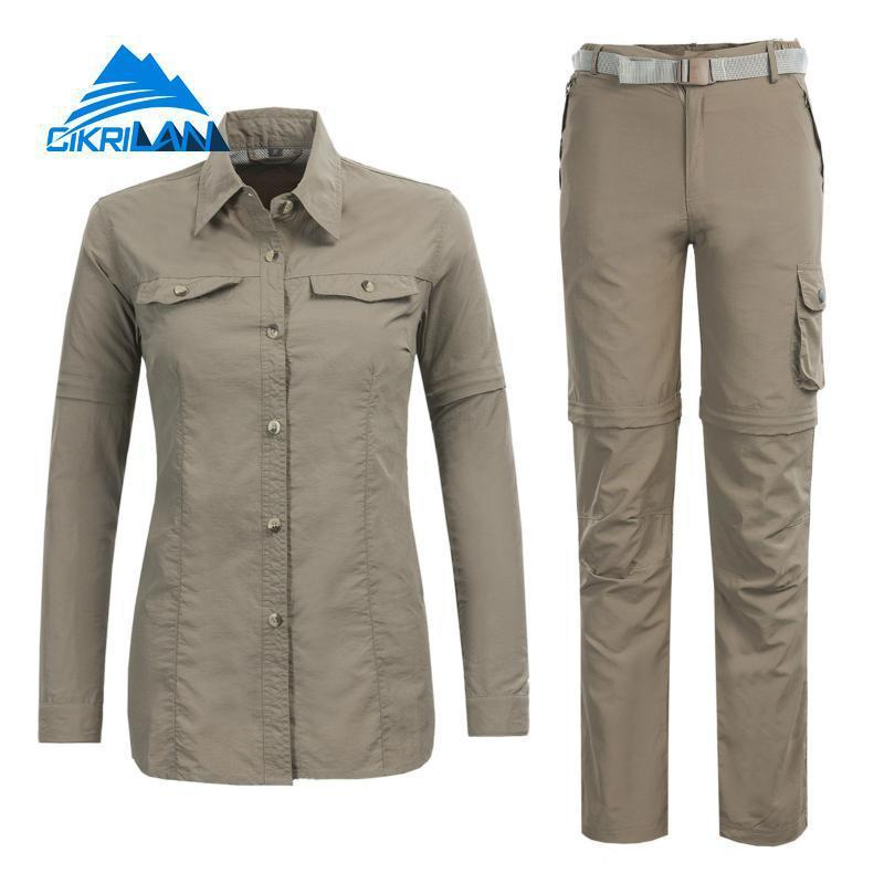 6831cdd48733 2019 New Outdoor Sport Fishing Clothing Quick Dry Hiking Camping Shirt Pants  Suit Women Anti Uv Breathable Trekking Climbing Sets C18111401 From  Shen8402