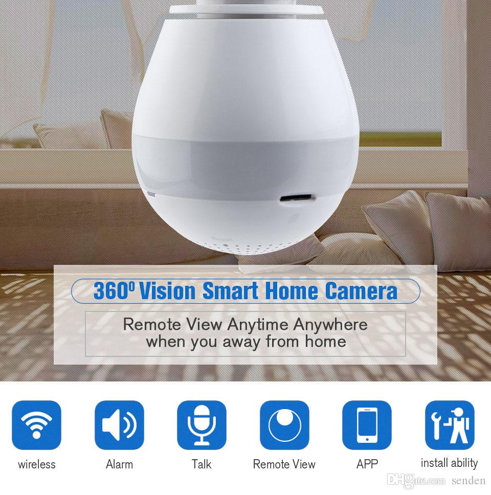 360 degree Panoramic Fish Eye Camera LED Light Bulb 1080P HD Wifi CCTV Home Security Surveillance