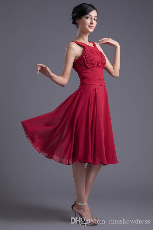 Chiffon Short Mother Dresses 2018 New Crew Neck Ruched A Line Knee Length Formal Party Cocktail Prom Dresses ZPT147