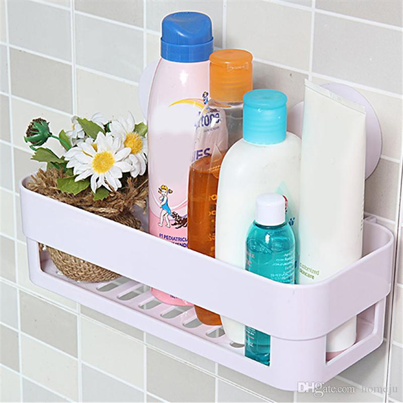 Kitchen Bathroom Shelf Wall Rack With 2 Suckers Plastic Shower Caddy Organizer Holder Tray Suction Cups Lotion Storage From Homeju 1711