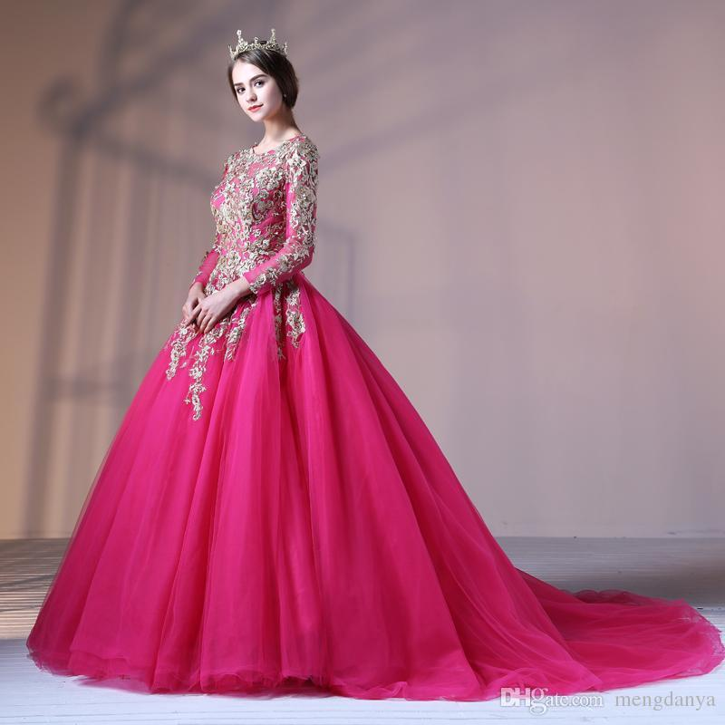 2019 Muslim Wedding Dress With Lace Embroidery Rose Red Scoop Neck Long Sleeves Tulle Pearls Lace Up Court Train Arab Vestido De Novia