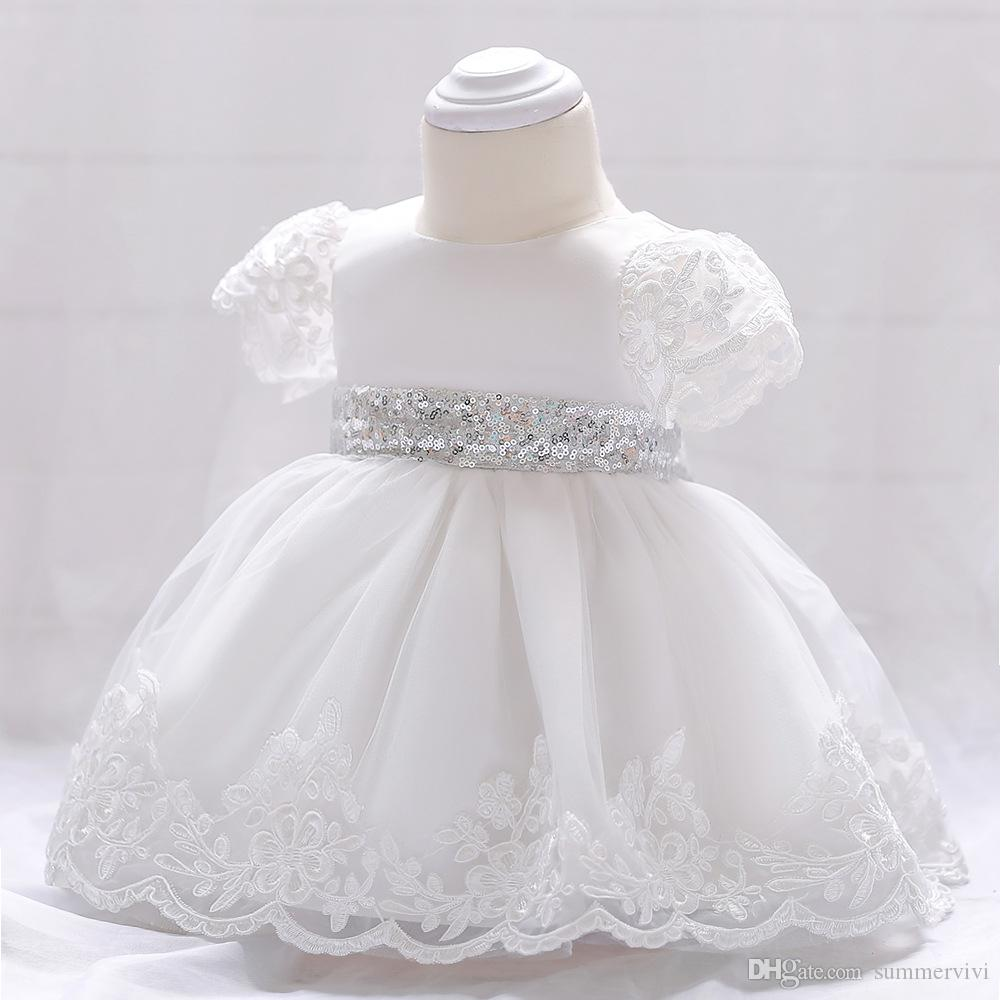 Baby girls party dress kids white lace embroidered short sleeve tutu dresses baby sequins bows princess dress girls birthday dress A01537