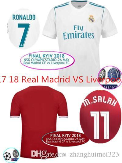 new style 81902 6ba20 2017/2018 CHAMPIONS LEAGUE FINAL REAL MADRID VS Lvp Soccer Jersey Ronaldo  Bale Real ASENSIO SALAH FIRMINO MANE Football Shirts