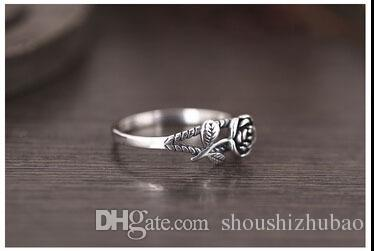 Women 925 Sterling Silver Vintage 3D Rose Ring Courtship Engagement Wedding Party Jewelry
