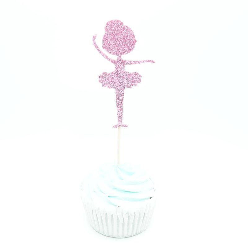 Glitter Ballerina Cupcake Toppers Picks Thème de Bande Dessinée Décorations De Fête Baby Shower Enfants Faveurs De Fête D'anniversaire