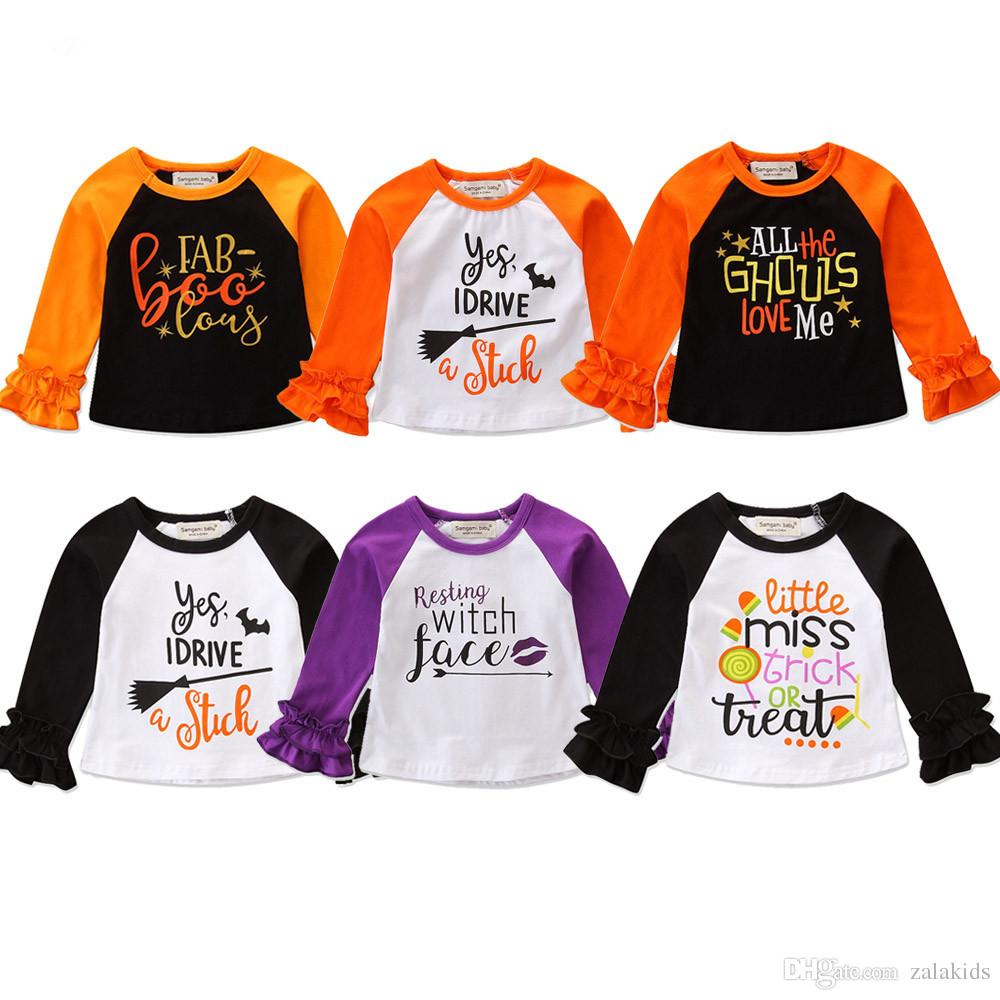 70e0b6795b9a 2019 Halloween Baby Girls Letter Print T Shirts 2018 Autumn Ruffle Long  Sleeve Shirt Tops Cotton Children Tees Kids Clothing From Zalakids
