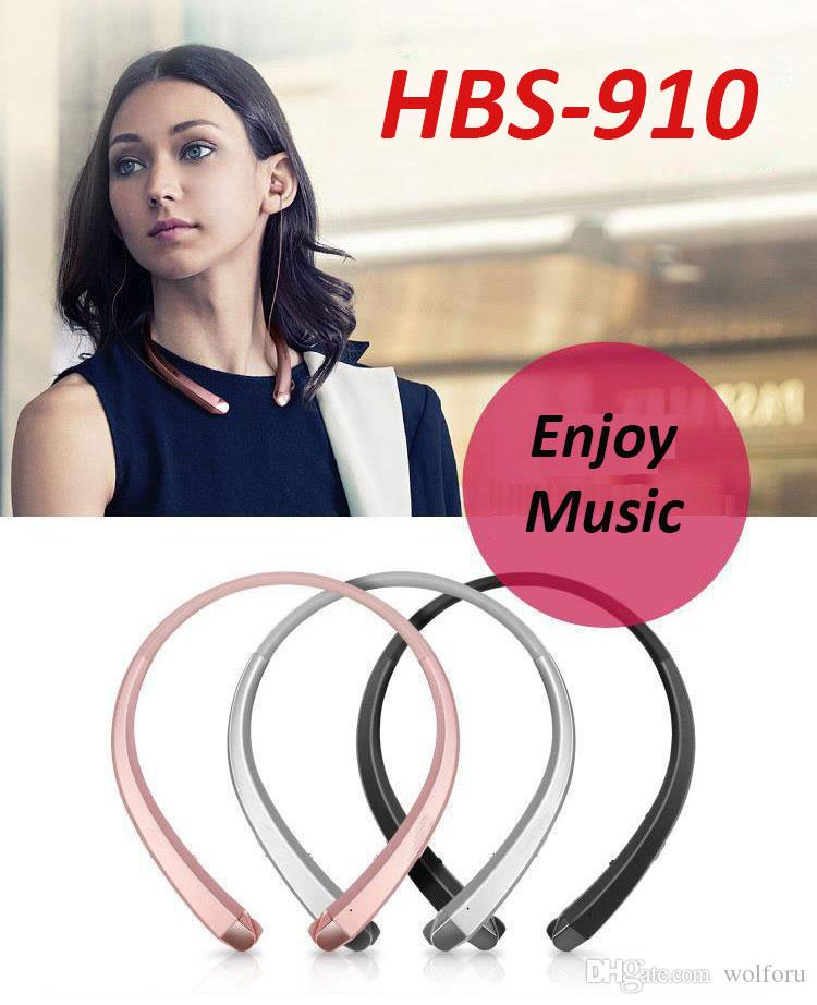 New HBS 910 Bluetooth Earphones Stereo Sports Neckband HBS910 Headphones 4.1 CSR Chip Wireless Headset For IOS And Android System
