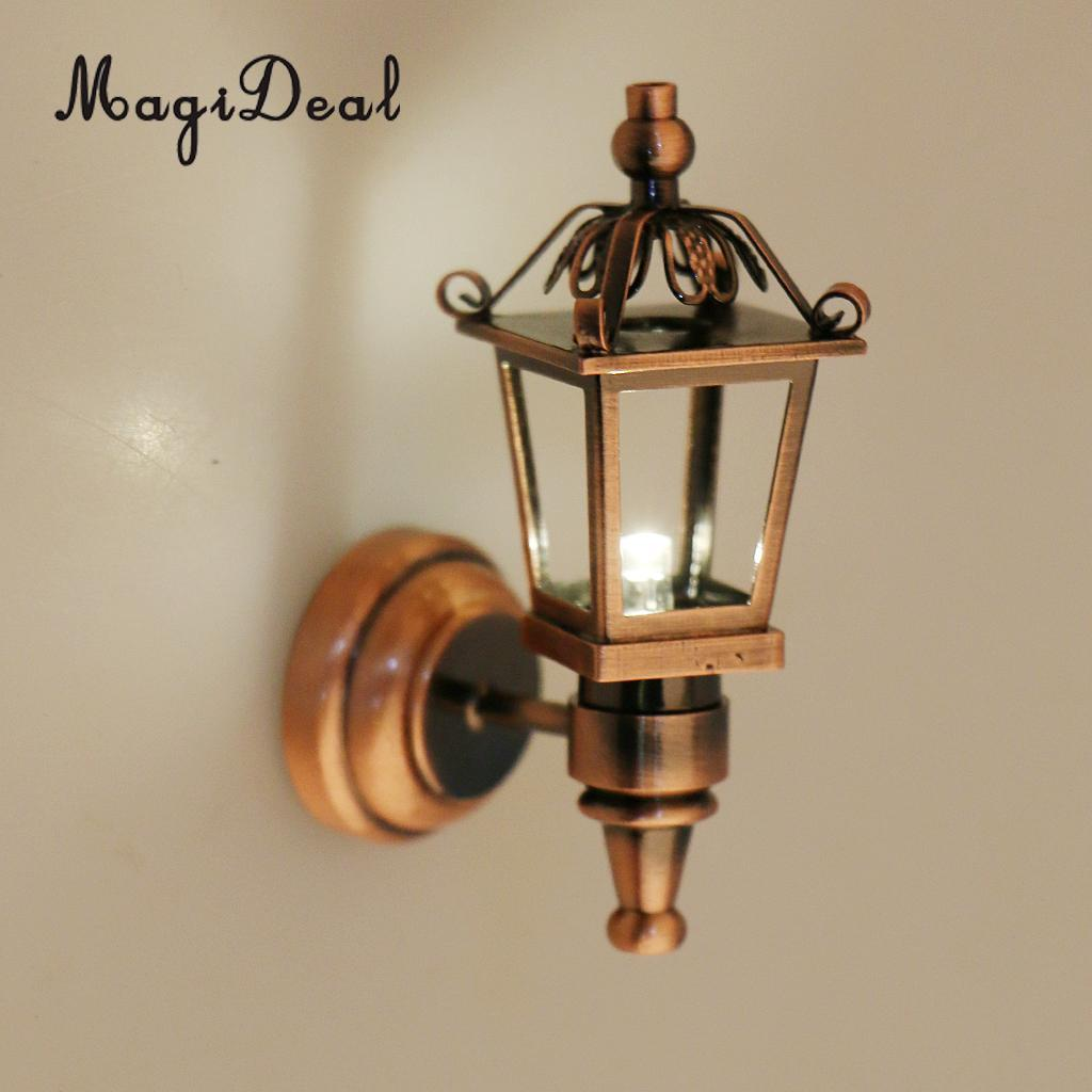 Metal 1:12 Scale Dollhouse Miniature LED Light Wall Lamp Model Copper For Dolls  House