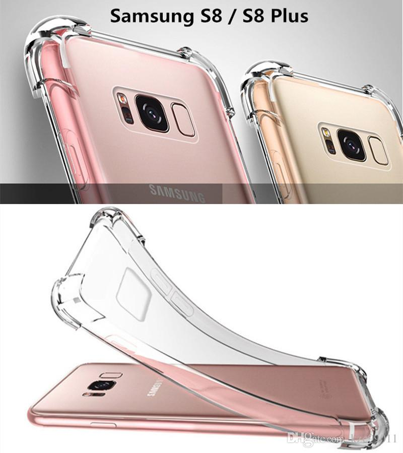 For iPhone X XS MAX XR 7 8 6 6S Plus Crystal Clear TPU Case Shock Absorption Soft Transparent Panel Back Cover For Samsung S9 S8 S7 Note 9 8